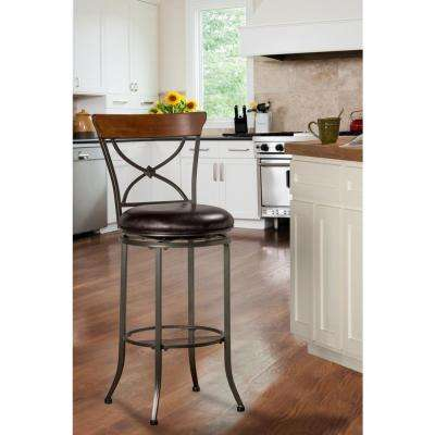 Cameron 26 in. Chestnut Brown Swivel Cushioned Bar Stool