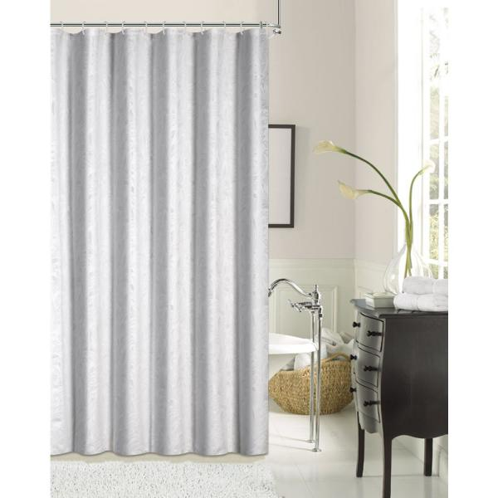Dainty Home Lisbon 72 in. White Shrink Yarn Shower Curtain LISBSCWH