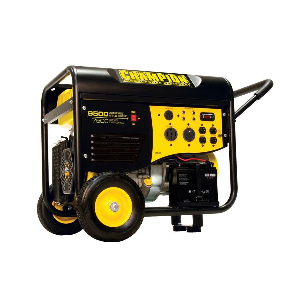 Champion Power Equipment 7,500/9,500-Watt Electric Start Gasoline Powered Portable Generator with 50-Amp and RV Outlet