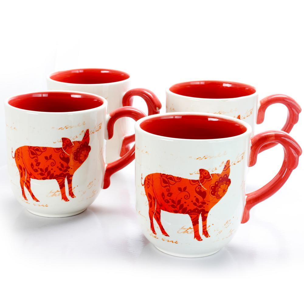 Life On The Farm 20.25 oz. Orange Pig Design Cup (Set of 4)