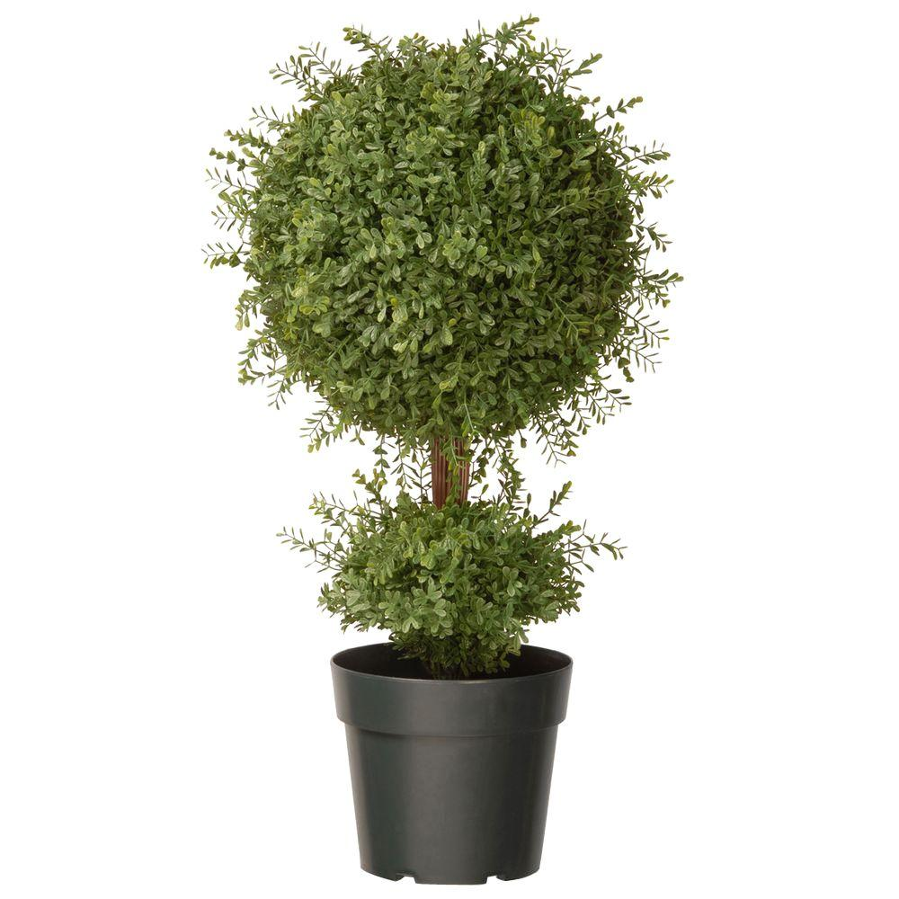 National Tree Company 30 in. Mini Tea Leaf 1 Ball Topiary in Green Round Growers Pot