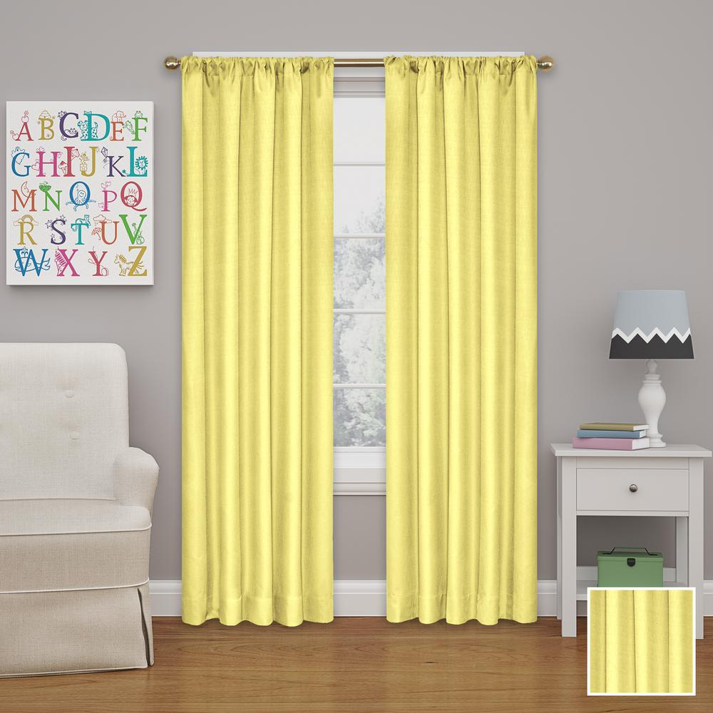 Eclipse Kendall 84 In L Polyester Curtain In Lemon 10707042x084lmn The Home Depot