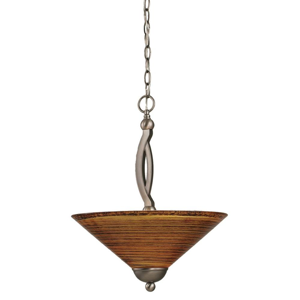 Concord 2-Light Brushed Nickel Pendant with Fire Saturn Glass