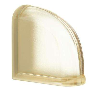 Vanilla 5.75 in. x 5.75 in. x 3.15 in. Classic Ivory End Curved Glass Block