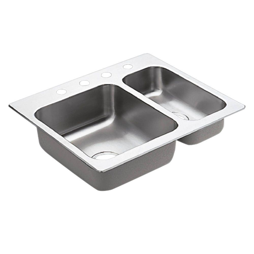 Kitchen Sink Stainless Steel Drop In Double Bowl