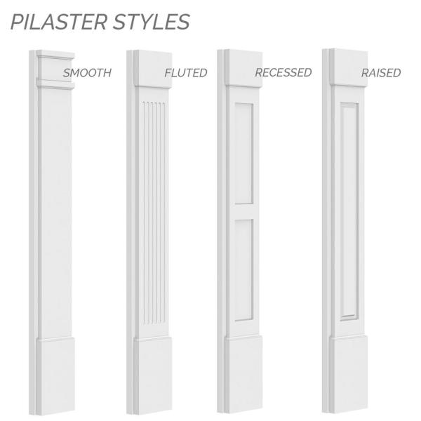 12W x 120H x 2P Factory Primed Ekena Millwork PILP12X120DRP02-2 Two Equal Raised Panel PVC Pilaster w//Decorative Capital /& Base Pair