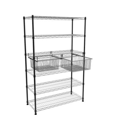 20.3 in. x 10.6 in. Black Pull-Out Basket (Set of 2)