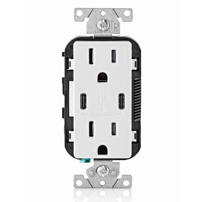 15 Amp 125-Volt Tamper-Resistant Duplex Outlet/30-Watt 6 Amp USB Dual Type-C with Power Delivery In-Wall Charger, White