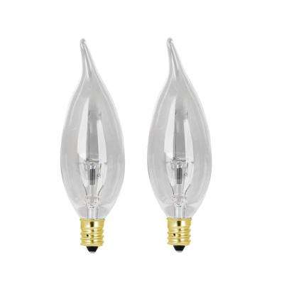 40W Soft White CA10 Candelabra Dimmable Incandescent Antique Edison Amber Filament Vintage Style Light Bulb (2-Pack)