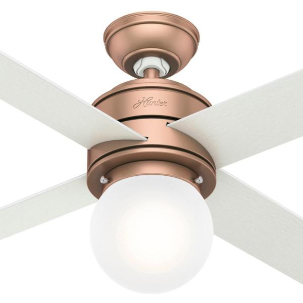 Hunter Hepburn 52 In Led Indoor Satin Copper Ceiling Fan With Light 59330 The Home Depot