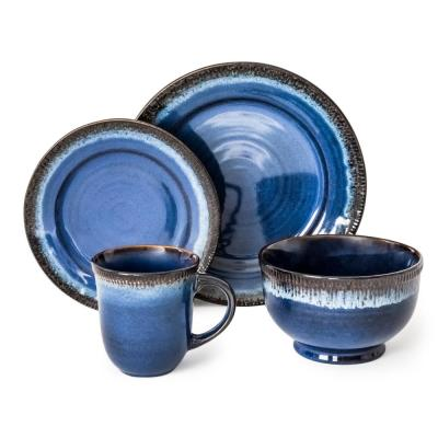 Roots 16-Piece Blue Dinnerware Set