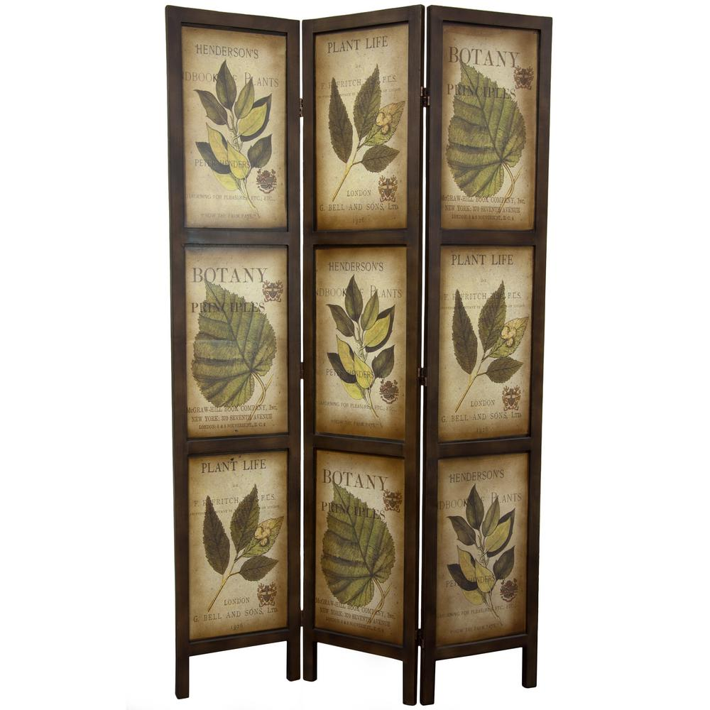 6 ft. Brown 3-Panel Botanic Room Divider