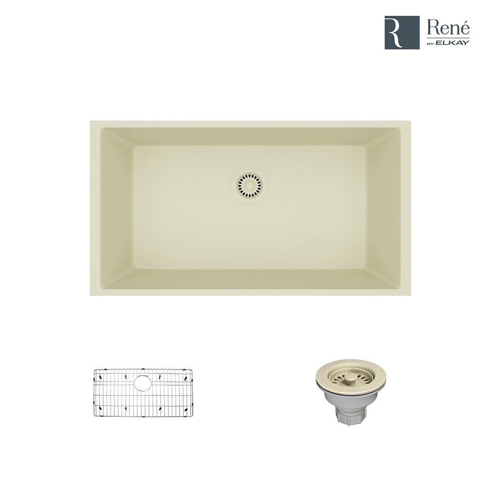 Undermount Composite Granite 32 5 8 In Single Bowl Kitchen Sink Ecru
