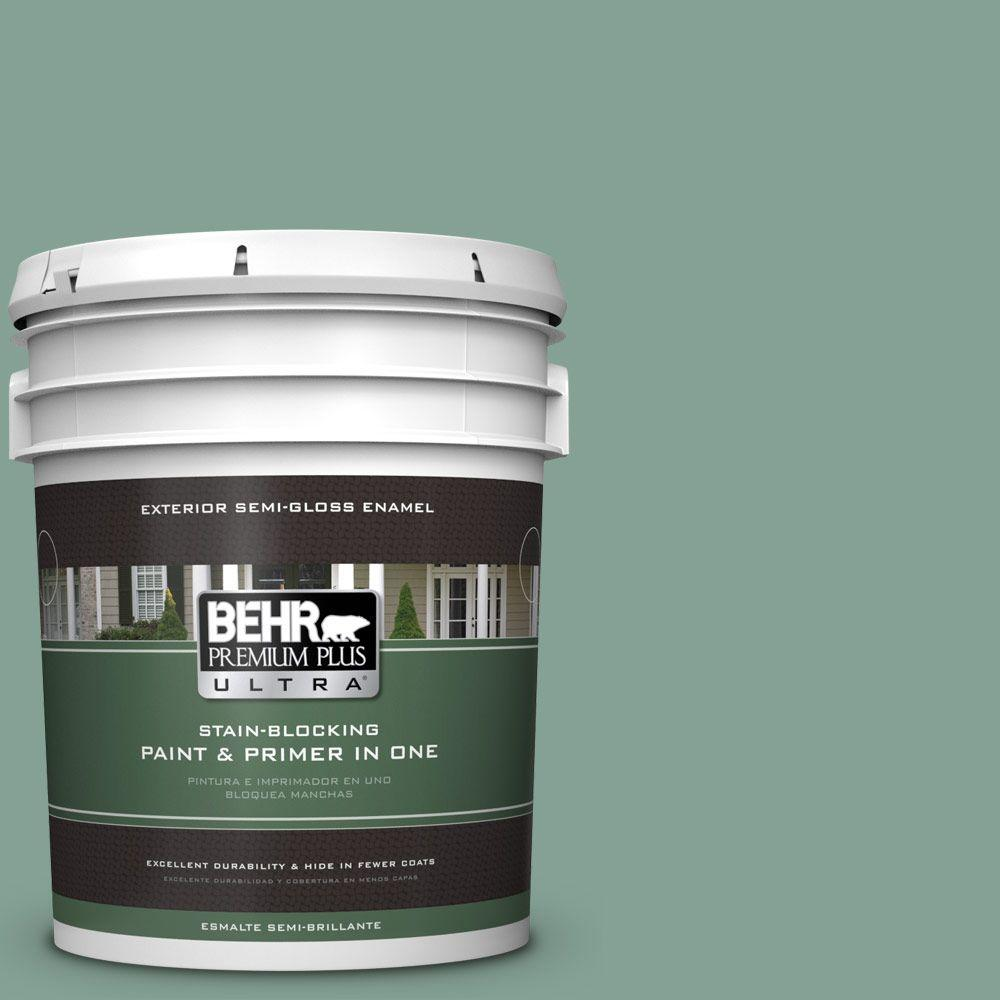 BEHR Premium Plus Ultra 5-gal. #S420-4 Australian Jade Semi-Gloss Enamel Exterior Paint