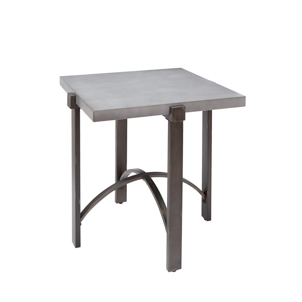 Lewis Gray Square Concrete Top End Table