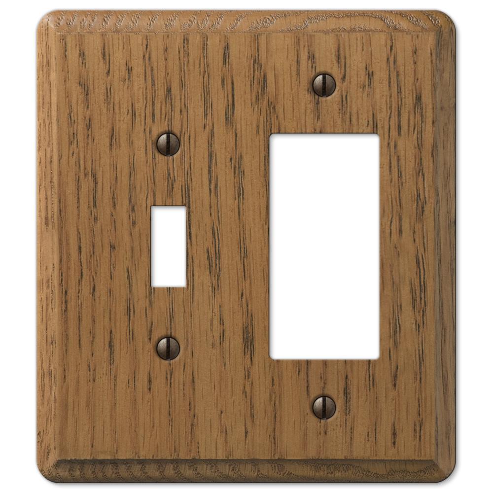 Contemporary 2 Gang 1-Toggle and 1-Rocker Wood Wall Plate - Medium Oak