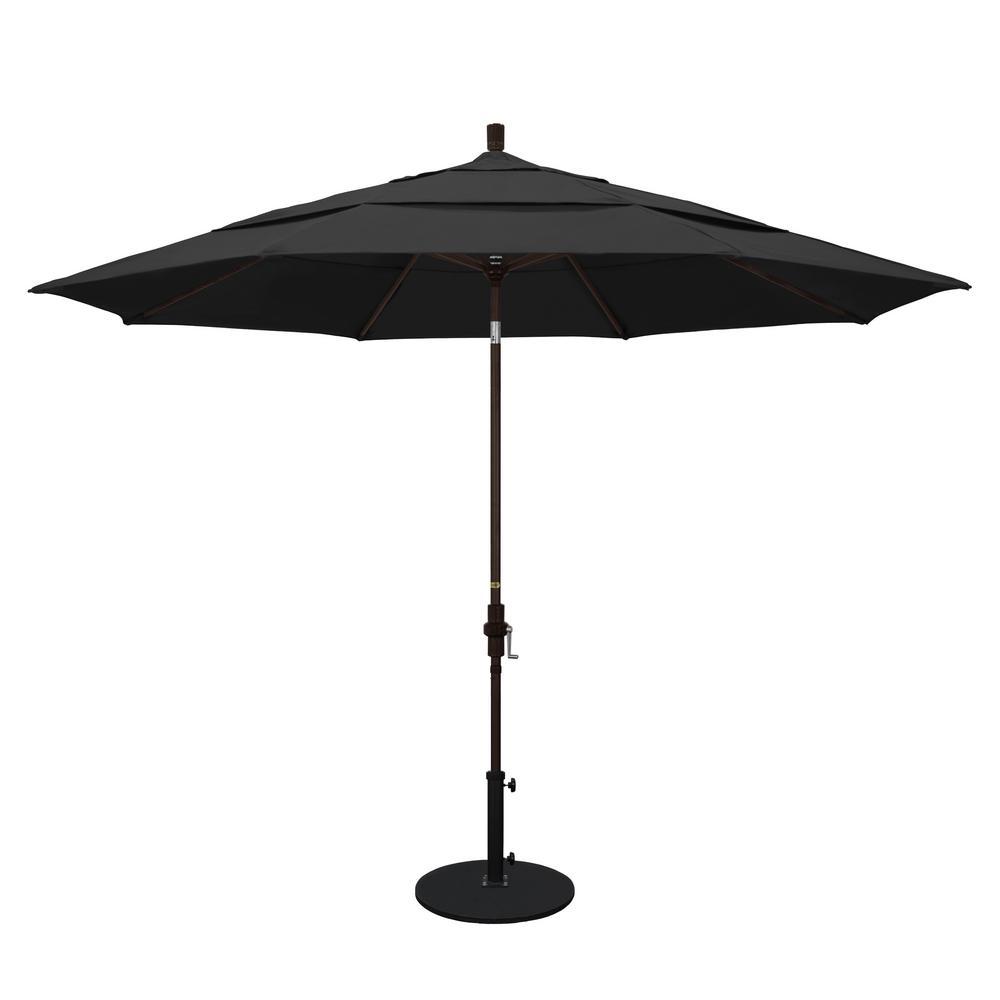 11 ft. Aluminum Collar Tilt Double Vented Patio Umbrella in Black