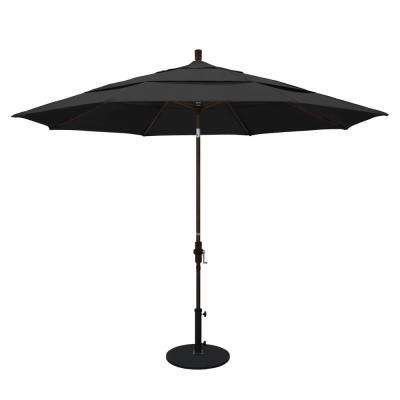 11 ft. Aluminum Collar Tilt Double Vented Patio Umbrella in Black Pacifica