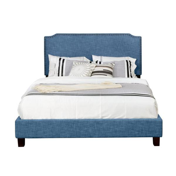 Blue Queen Size Upholstered Panel Bed with Nailhead