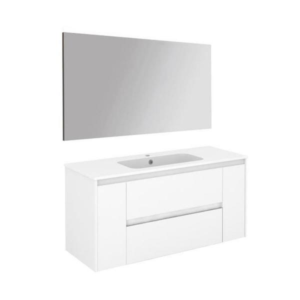 Ws Bath Collections Ambra 39 8 In W X 18 1 In D X 22 3 In H Complete Bathroom Vanity Unit In Gloss White With Mirror Ambra 100 Pack 1 Wg The Home Depot