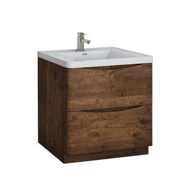 Tuscany 32 in. Modern Bath Vanity in Rosewood with Vanity Top in White with White Basin