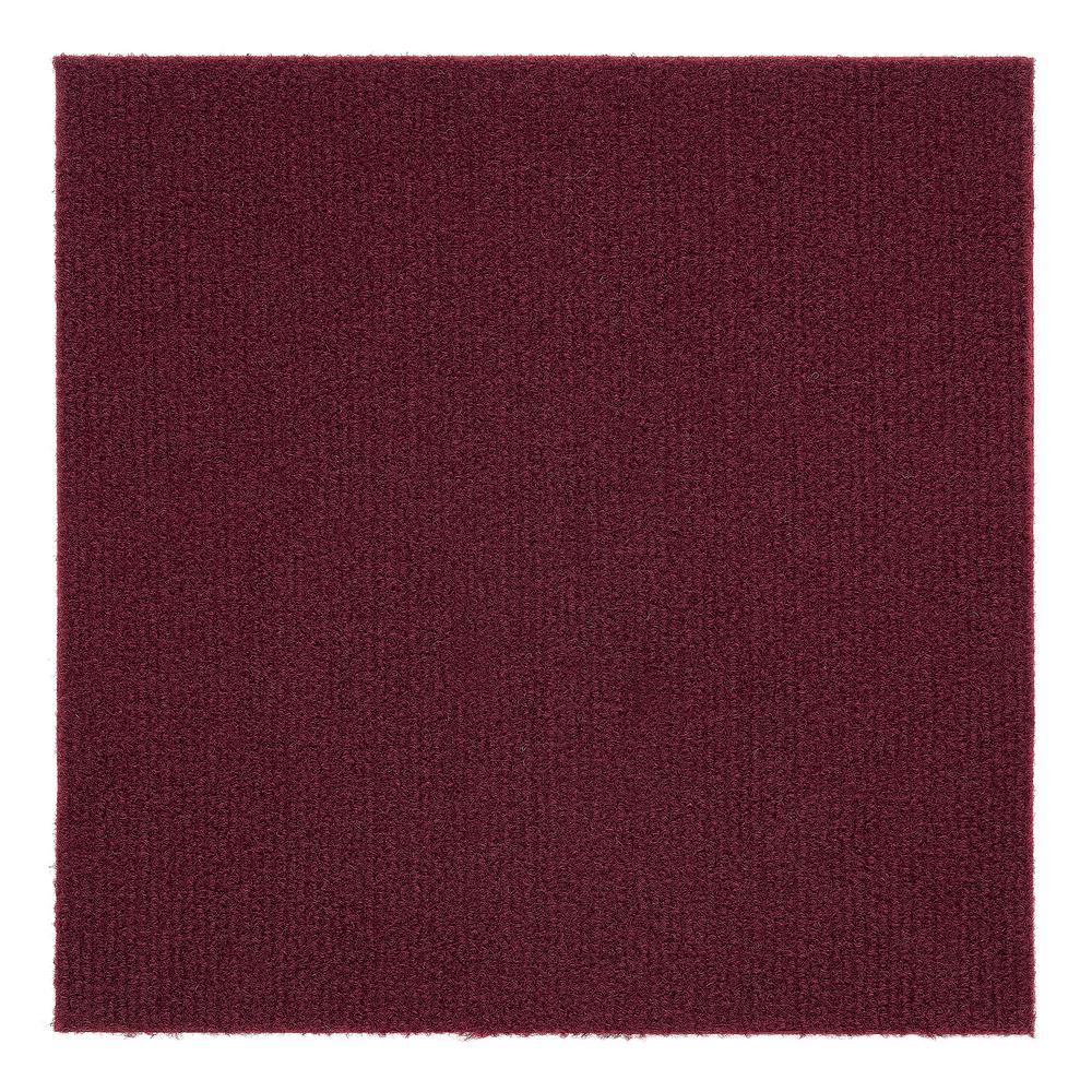 Nexus Burgundy 12 in. x 12 in. Peel and Stick Carpet Tiles (12 Tiles/Case)