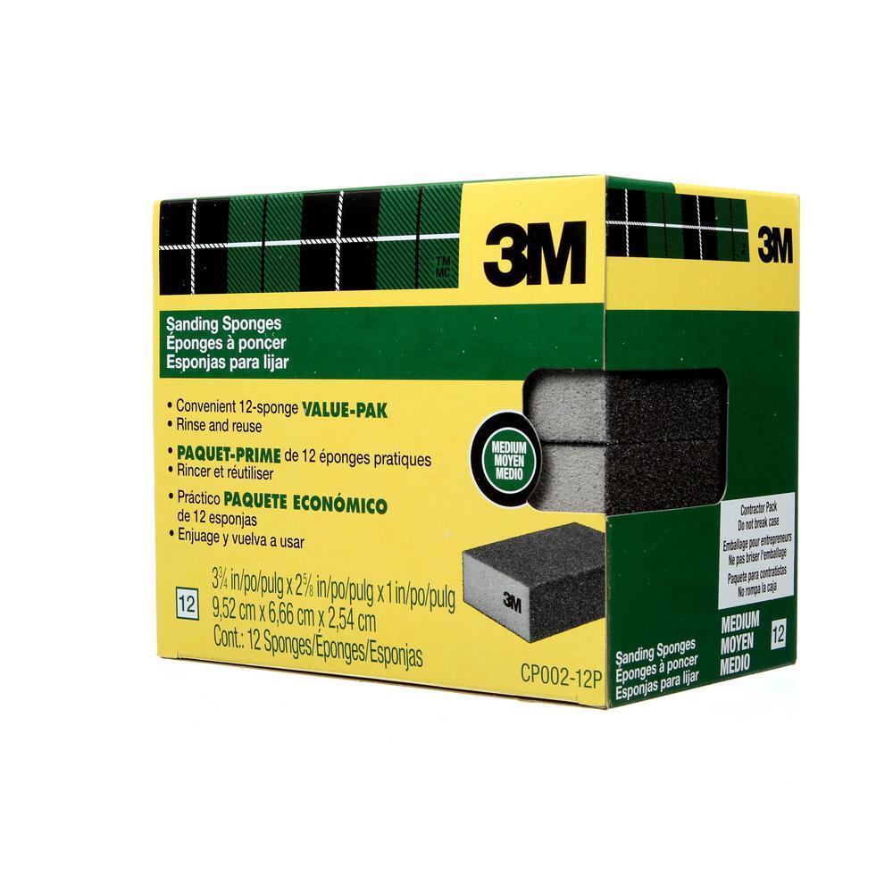 3-3/4 in. x 2-5/8 in. x 1 in. Sanding Sponge, Block, 100 Grit, Fine (12-Pack)