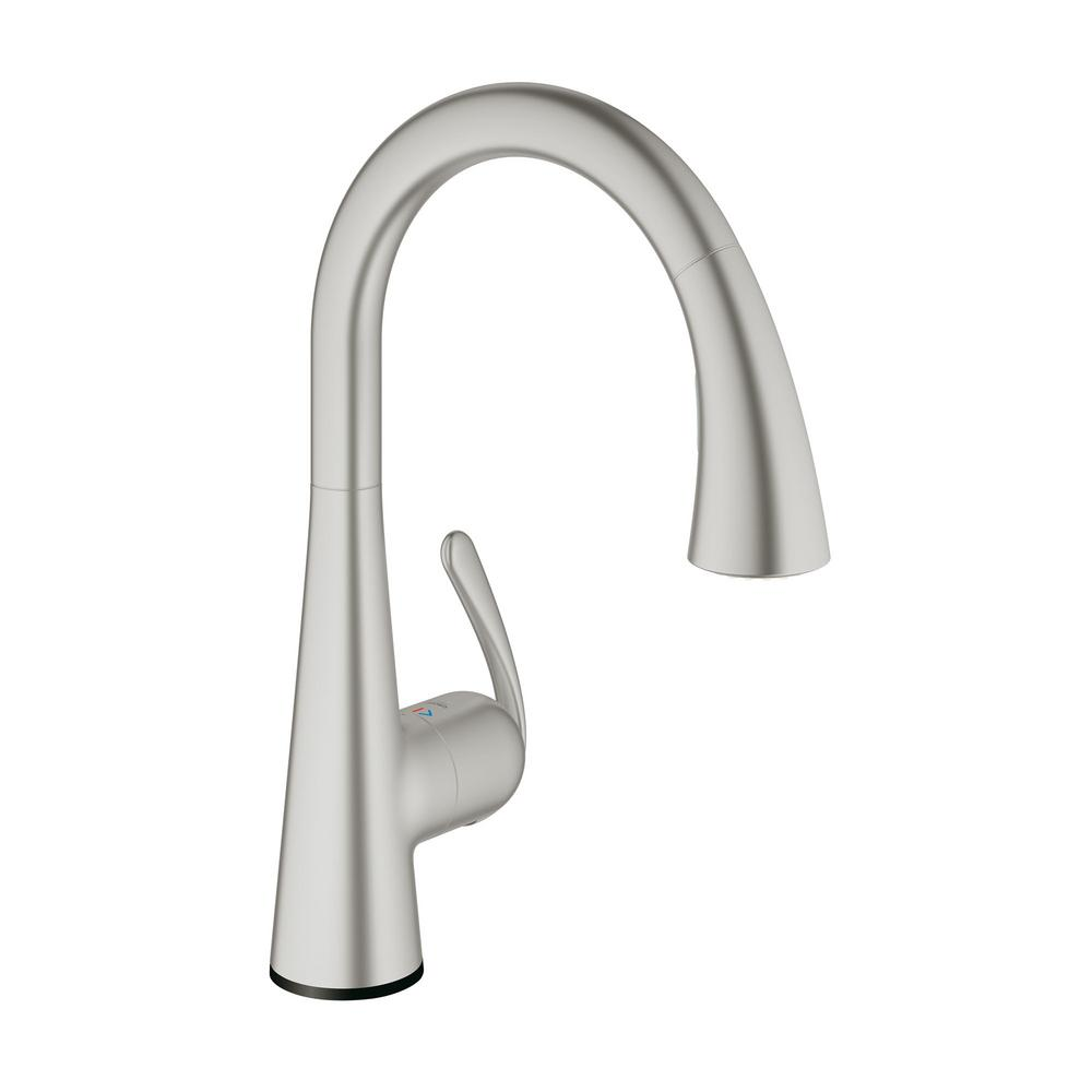 Beautiful GROHE LadyLux Cafe Touch Single Handle Pull Down Sprayer Kitchen Faucet In  SuperSteel InfinityFinish 30205DC1   The Home Depot