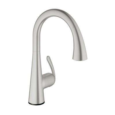 LadyLux Cafe Touch Single-Handle Pull-Down Sprayer Kitchen Faucet in SuperSteel Infinity