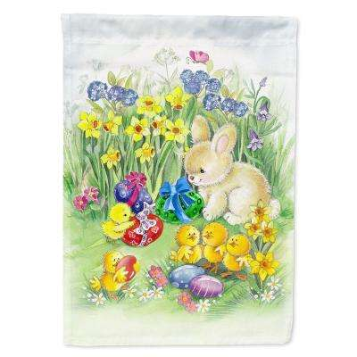 11 in. x 15-1/2 in. Polyester Easter Chicks and Bunny 2-Sided 2-Ply Garden Flag