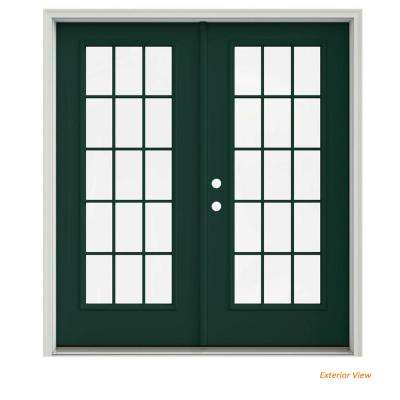 72 in. x 80 in. Hartford Green Painted Steel Right-Hand Inswing 15 Lite Glass Stationary/Active Patio Door