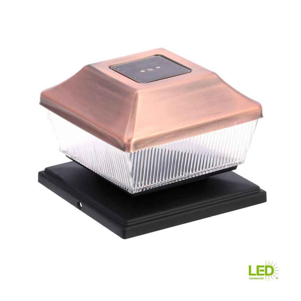 Hampton Bay Solar Copper Outdoor Integrated LED Post Cap Deck Light (2-Pack)
