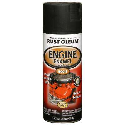 12 oz. Low Gloss Black Engine Enamel Spray Paint (6-Pack)