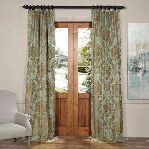 Exclusive Fabrics & Furnishings Magdelena Jade and Gold Faux Silk Jacquard Curtain Panel - 50 inch W x 96 inch L by Exclusive Fabrics & Furnishings