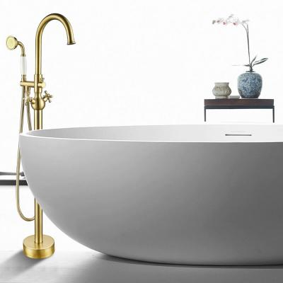 48 in. H x 12 in. W Single Handle Claw Foot Tub Faucet with Hand Shower in Brushed Brass