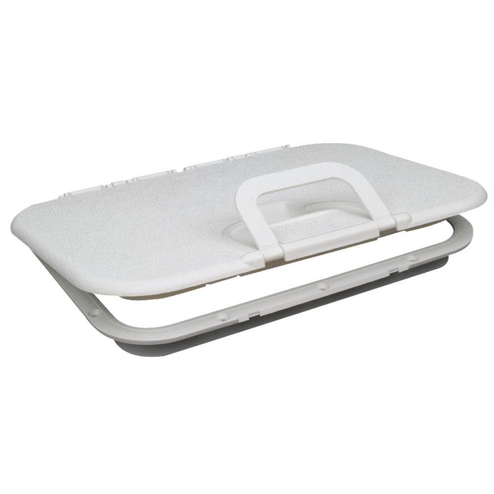 Seachoice 8-1/8 in. Polypropylene Offshore Hatch, White White. Low profile. UV stabilized. Acetone resistant polypropylene. Integrated hinge system allows 180° opening. Flush handle for easy access. #8 Fasteners required.