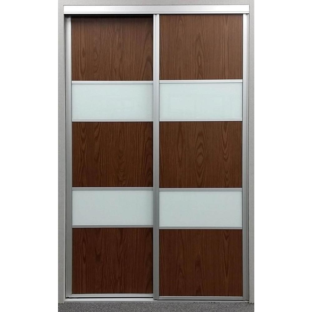 48 in. x 96 in. Sequoia Walnut and White Painted Glass