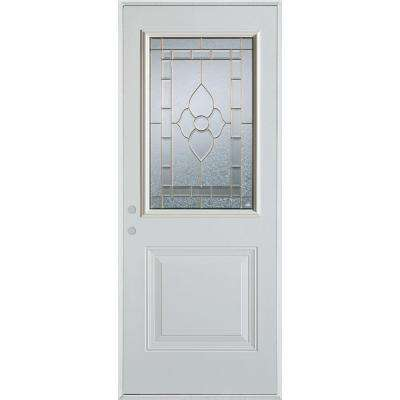 36 in. x 80 in. Traditional Patina 1/2 Lite 1-Panel Prefinished White Right-Hand Inswing Steel Prehung Front Door