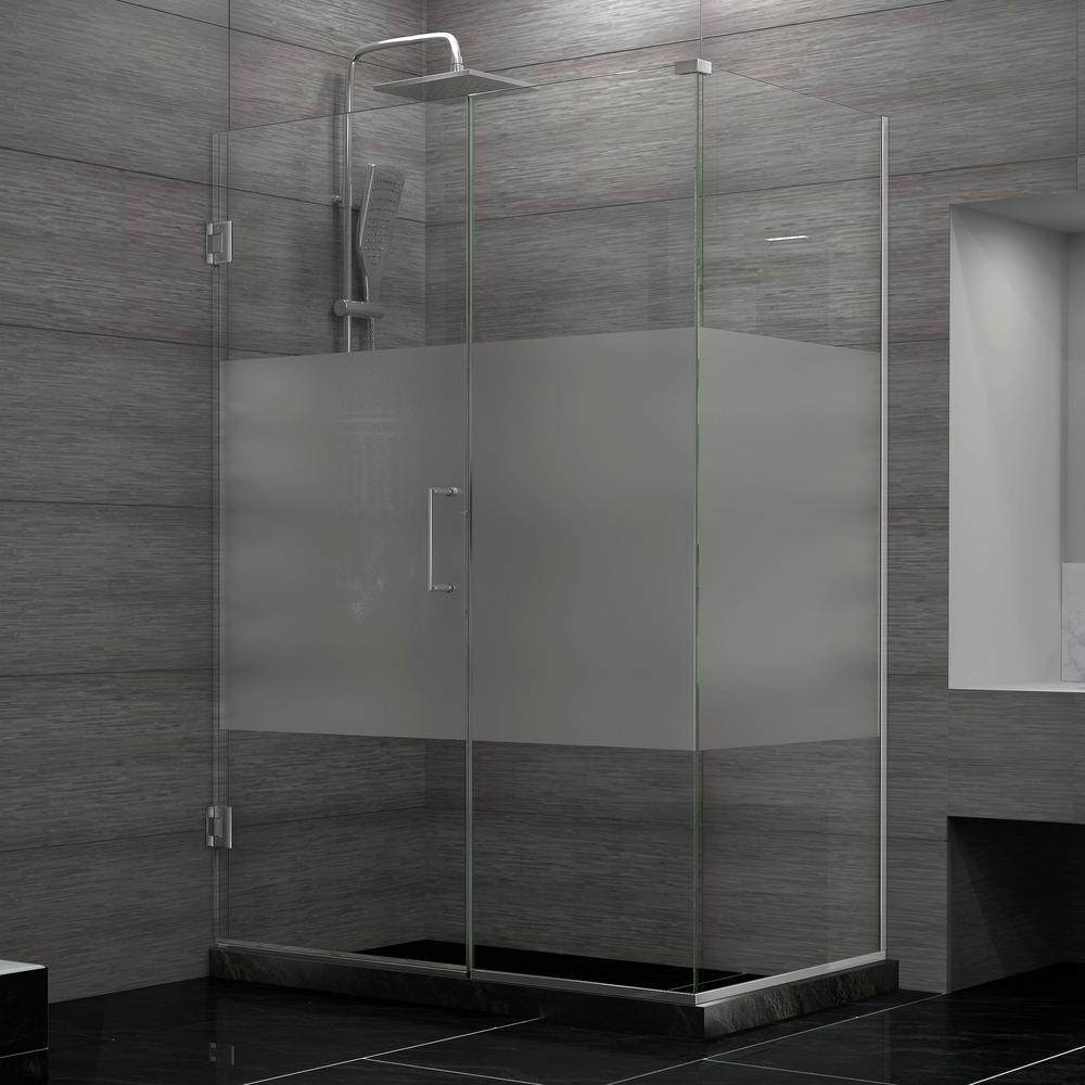 Unidoor Plus 34-3/8 in. x 46 in. x 72 in. Hinged Shower Enclosure with Half Frosted Glass Door in Brushed Nickel