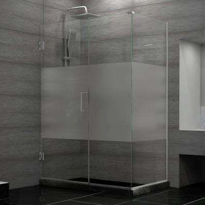 Unidoor Plus 34-3/8 in. x 48 in. x 72 in. Hinged Shower Enclosure with Half Frosted Glass Door in Brushed Nickel