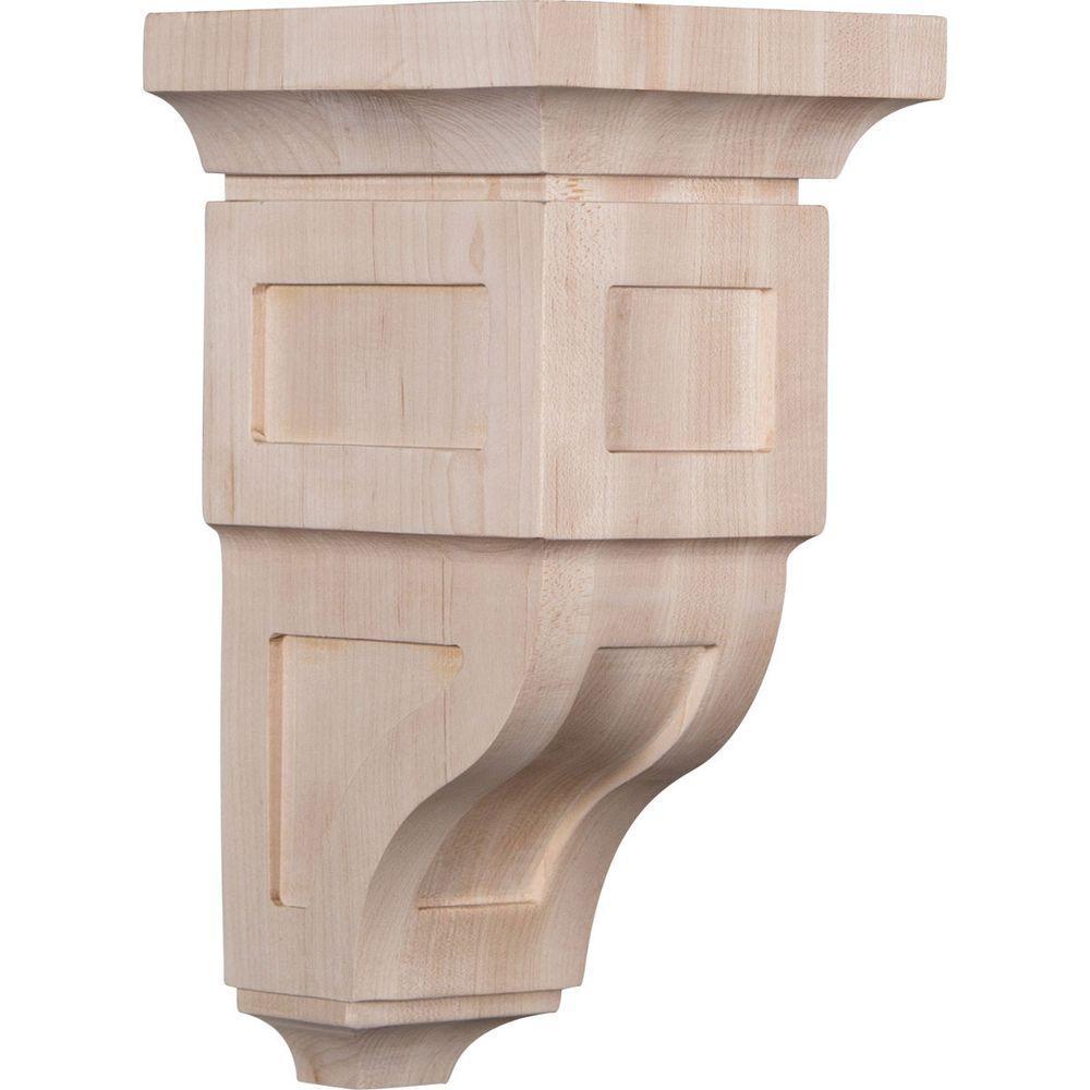 5 in. x 10 in. x 5-3/4 in. Rubberwood Medium Reyes Wood Corbel