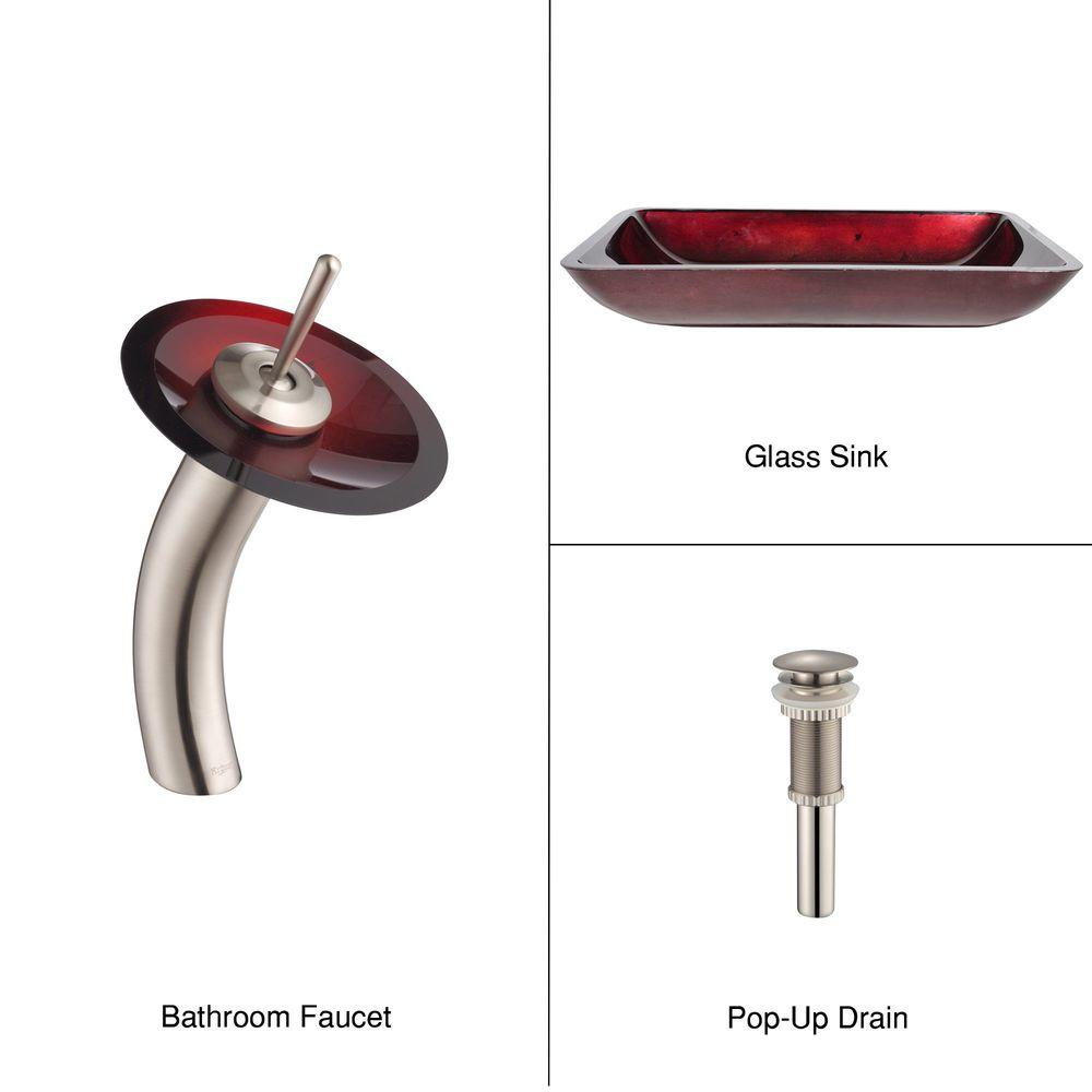 KRAUS Rectangular Glass Bathroom Sink in Irruption Red with 1-Handle Low-Arc Waterfall Faucet in Satin Nickel-DISCONTINUED