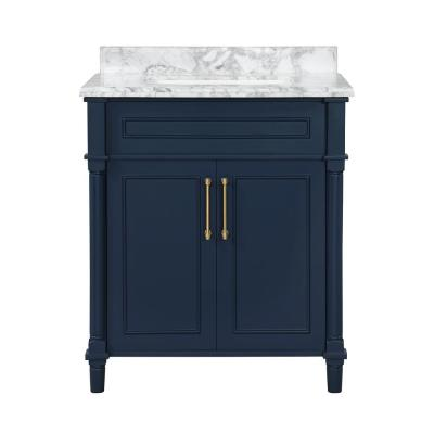 Aberdeen 30 in. x 22 in. D Bath Vanity in Midnight Blue with Carrara Marble Vanity Top in White with White Basin
