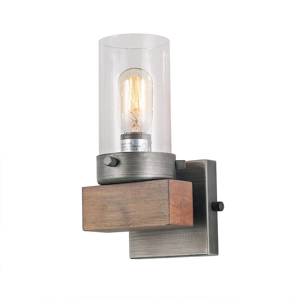 LNC 1-Light Aged Silver Wood Vanity Lighting Bath Light