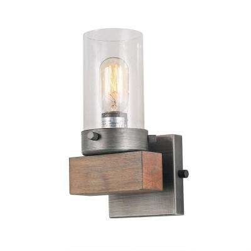1-Light Aged Silver Wood Vanity Lighting Bath Light