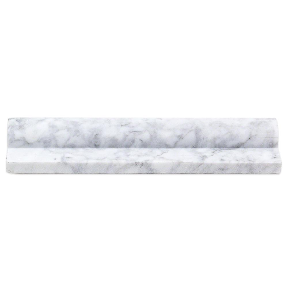 Splashback Tile Brushed White Carrara Honed Marble Chair Rail Trim Tile   2  In. X