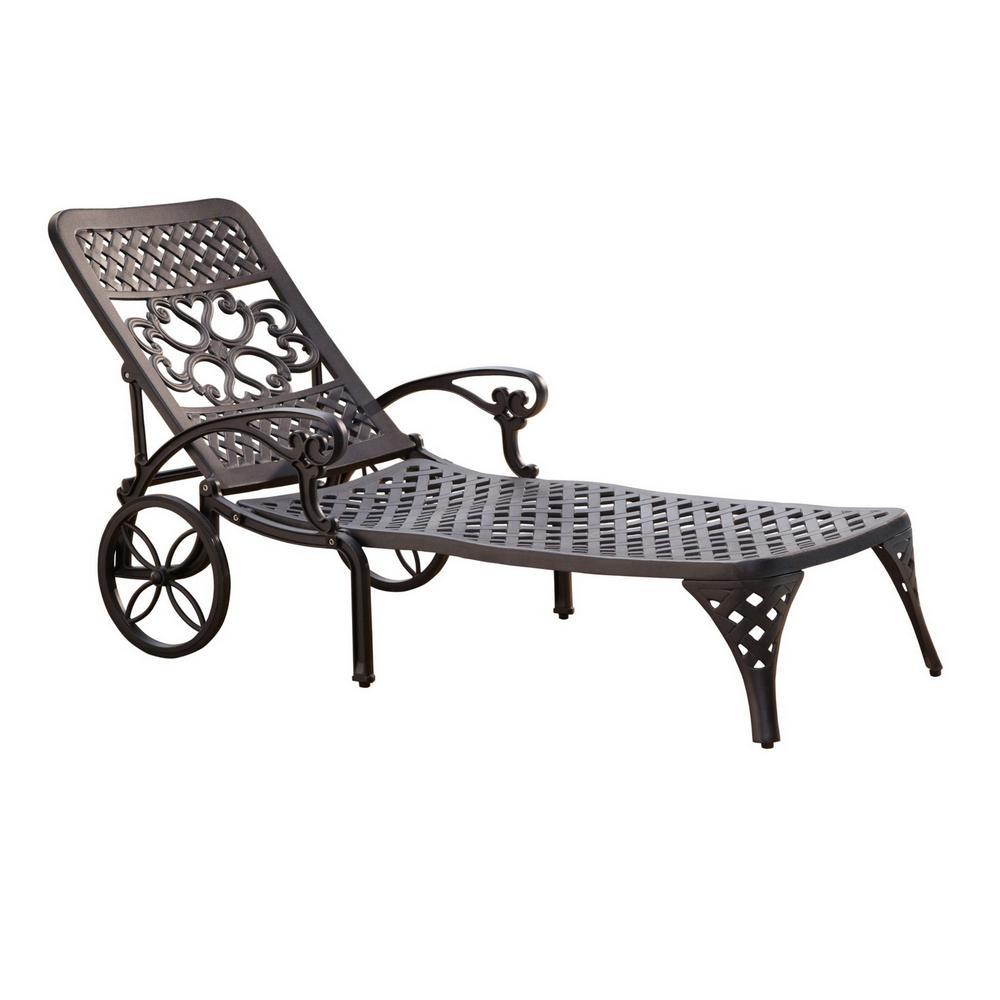 Sanibel Black Cast Aluminum Outdoor Chaise Lounge