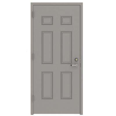 30 in. x 80 in. Gray Right-Hand 6-Panel Security Steel Prehung Commercial Door with Welded Frame