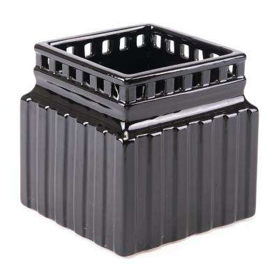 Roman 6.3 in. W x 6.3 in. H Black Dolomite Planter