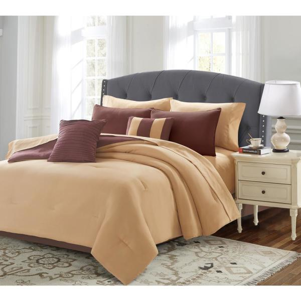 undefined 9-Piece Taupe Queen Bed in a Bag Set